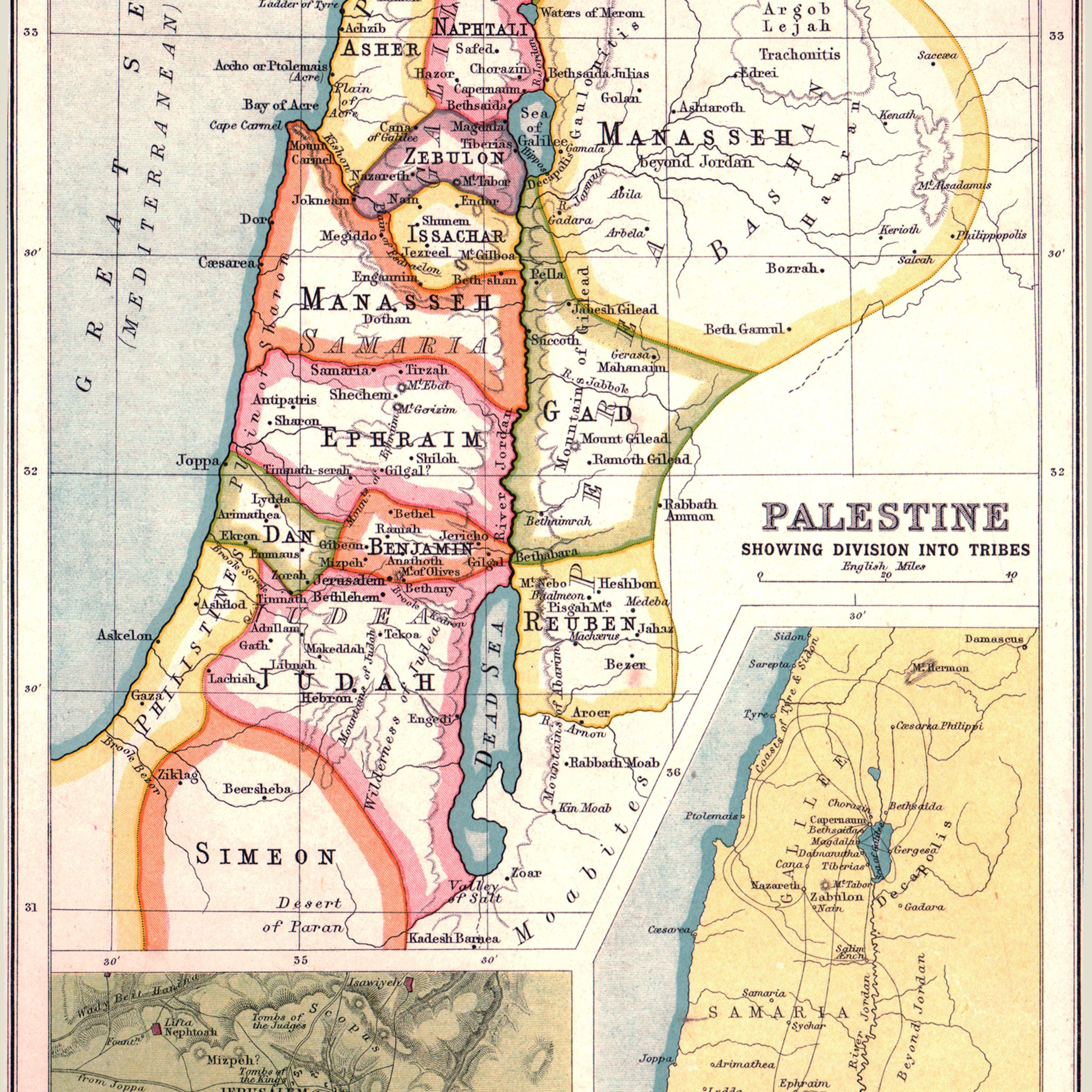 Map of Palestine, showing the territories of the Twelve Tribes of Israel with insets of Jerusalem and the