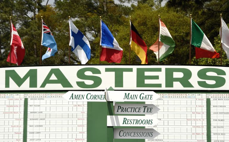 General view of a scoreboard at The Masters