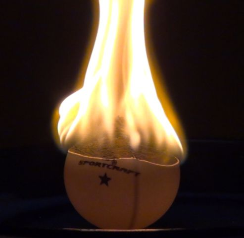 Ping pong balls are flammable. (Anne Helmenstine)