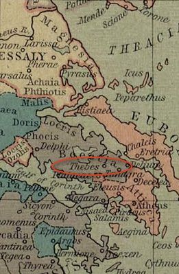 Thebes circled on a map.