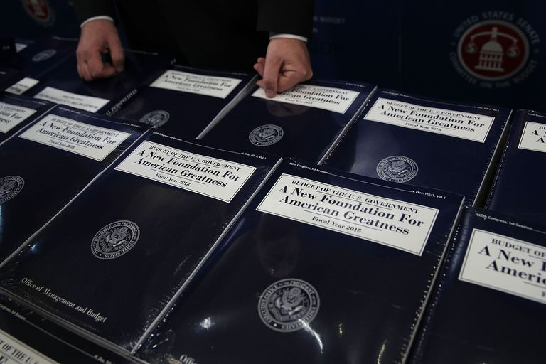 Bound volumes of President Trump's 2018 budget proposal
