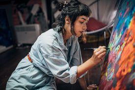 Young artist in studio