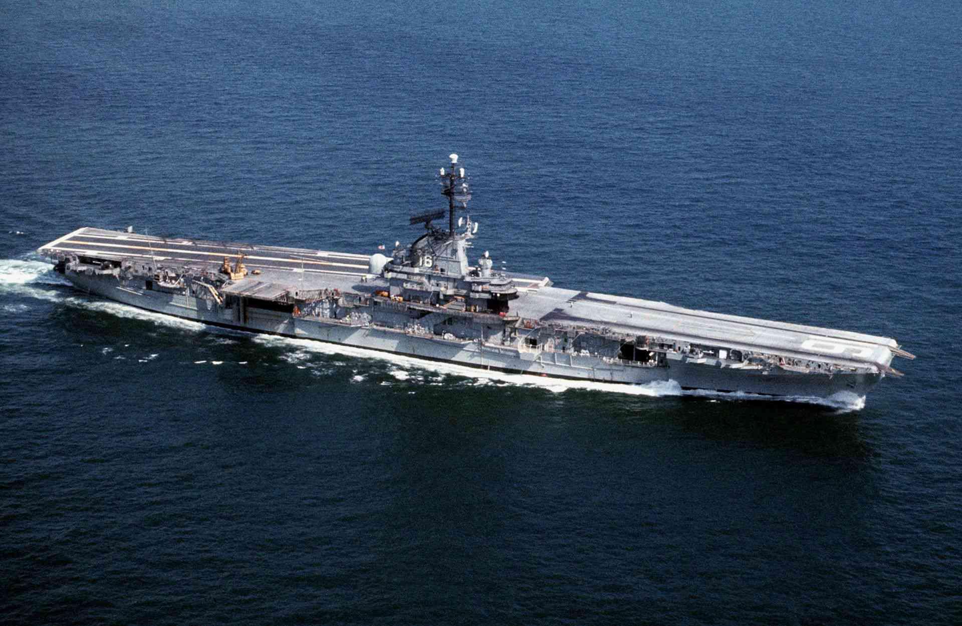 Aerial view of aircraft carrier USS Lexington (CV-16).