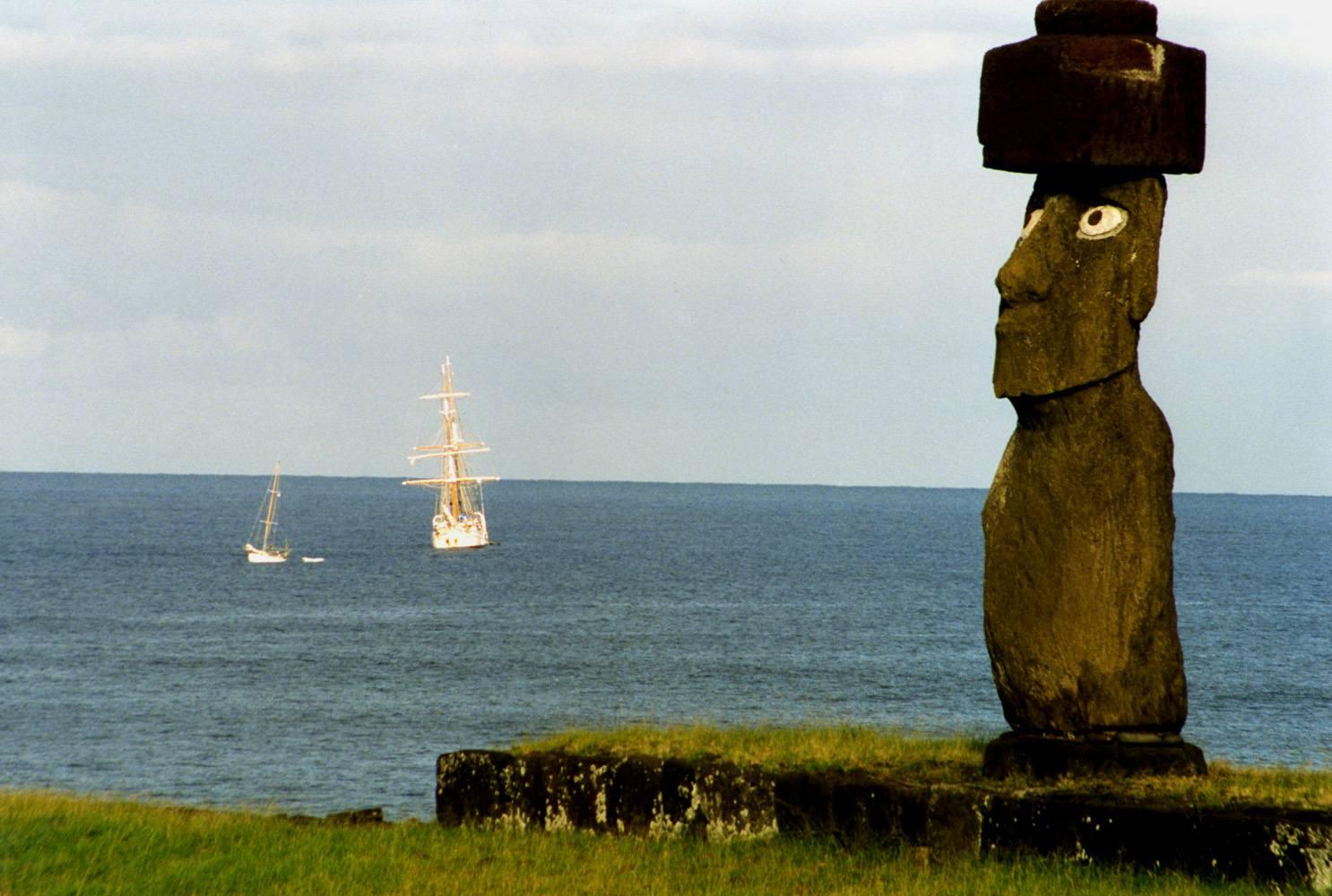 Moai with Shell Eyes on Coast, Easter Island