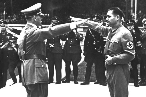 photograph of Rudolf Hess saluting Hitler