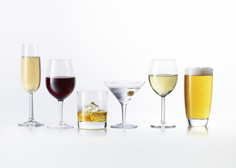 Variety Alcoholic Beverage Drinks White Background