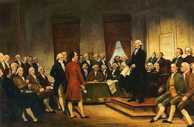A painting depicting George Washington speaking at the Constitutional Convention