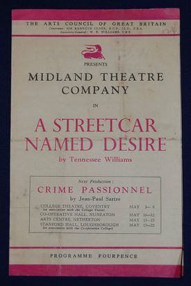Midland Theatre Company programme for a production of 'A Streetcar Named Desire'