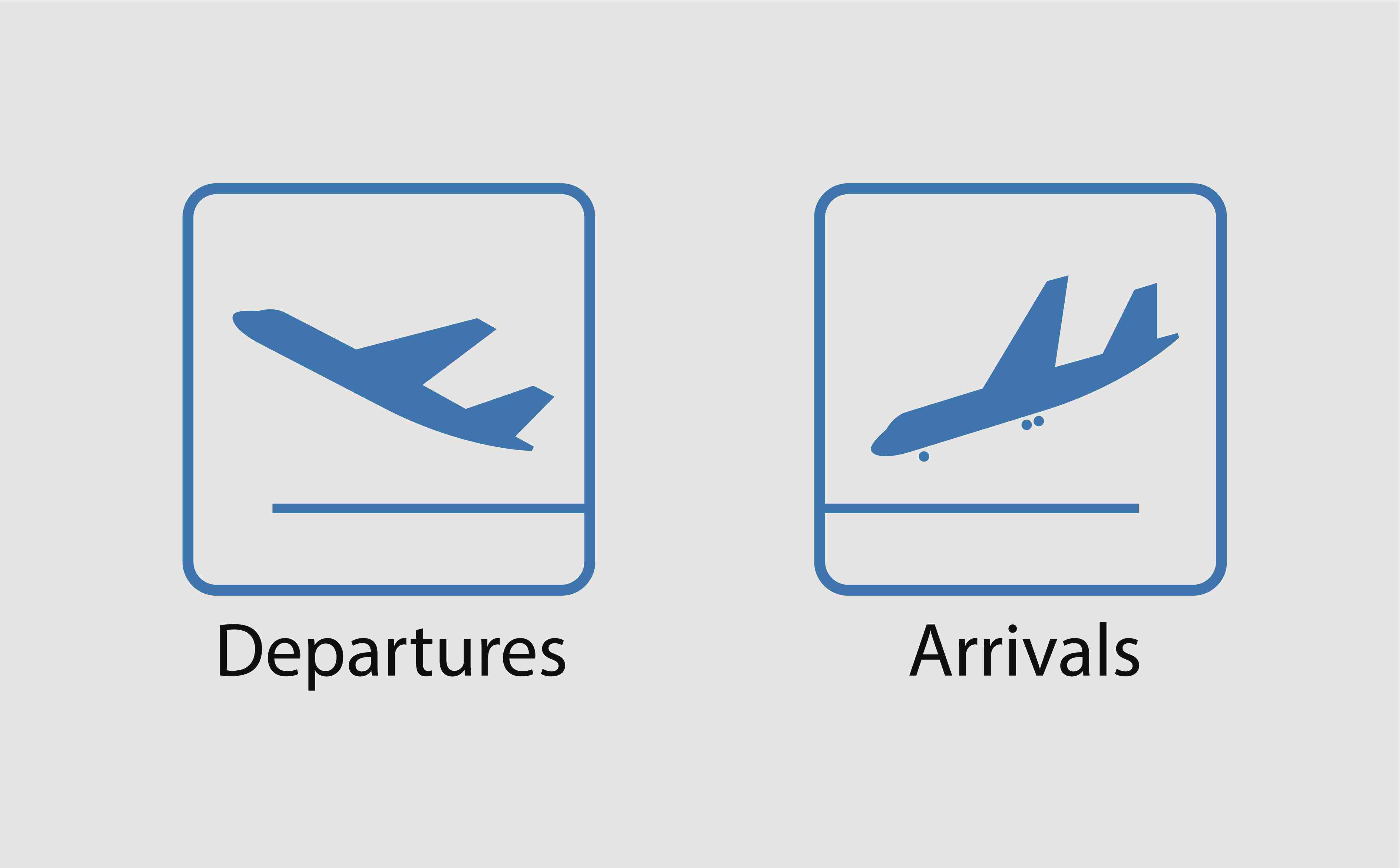 Departures and arrivals symbol