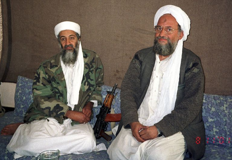 Osama bin Laden sits with his adviser Dr. Ayman al-Zawahiri
