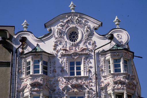 The elaborate exterior of the 18th century Helbinghaus in Innsbruck, Austria