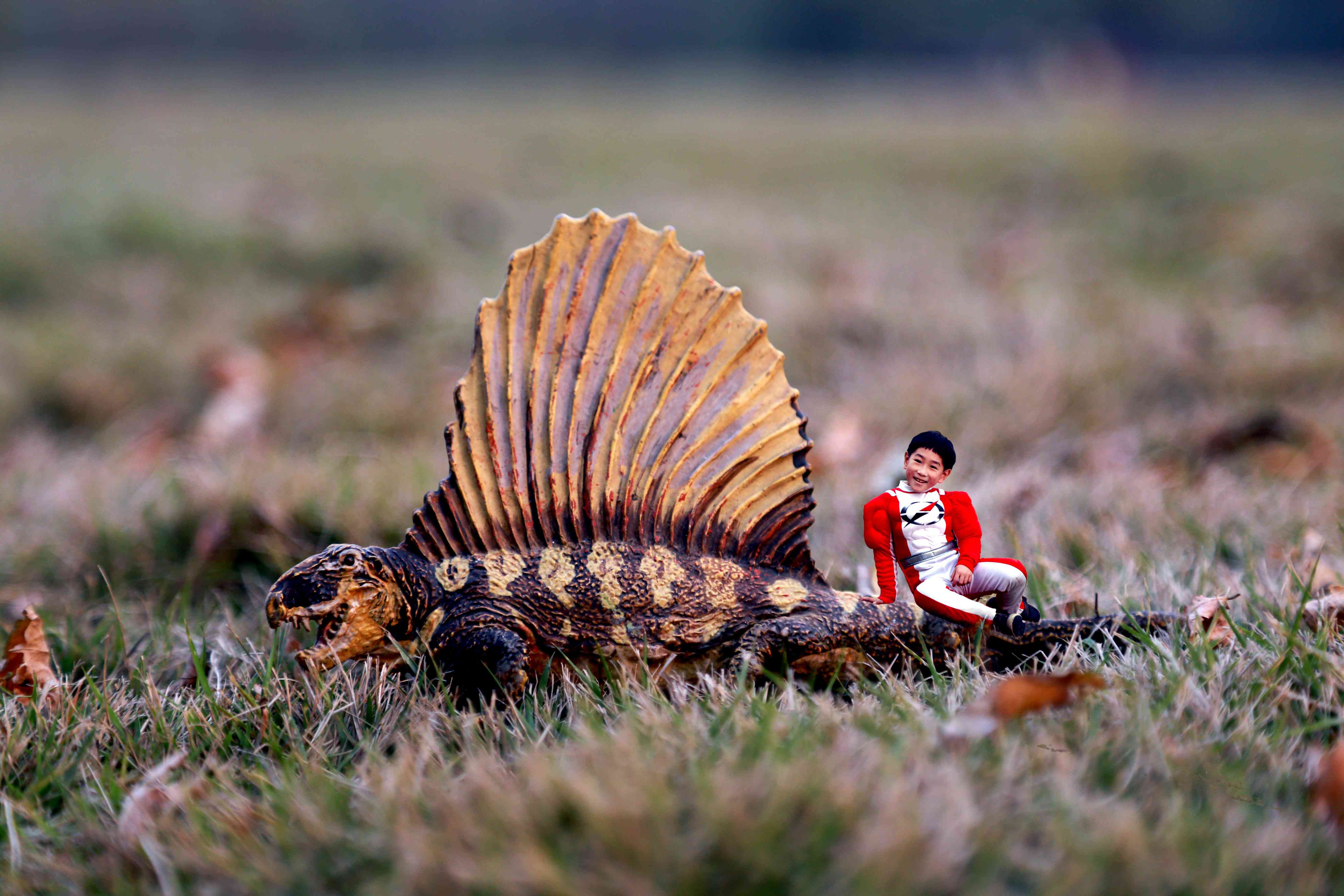 A little boy uses trick photography to pose with a dimetrodon
