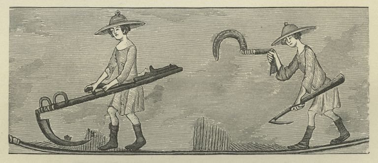 Engraving of peasants with farming implements