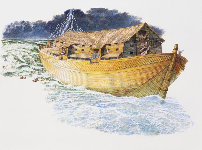 Noah's ark sailing through stormy waters with thunderous sky above