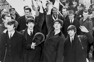 The Beatles arrive in the U.S. black and white photograph.
