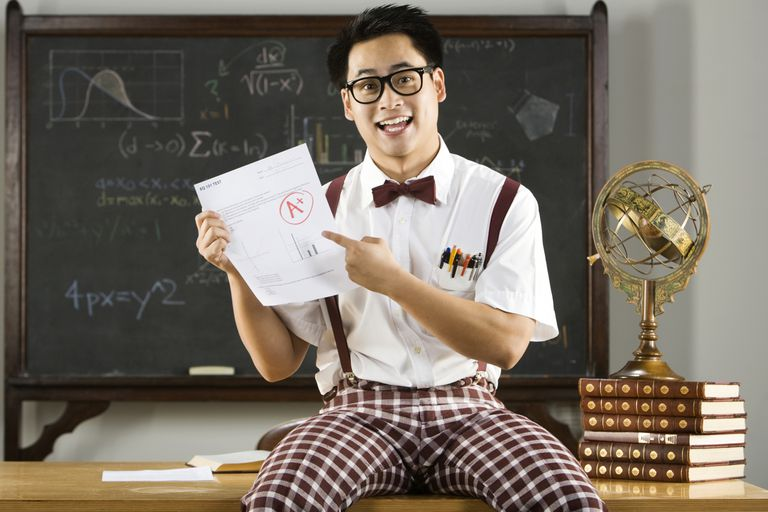 Man dressed as nerd holding up test with A+