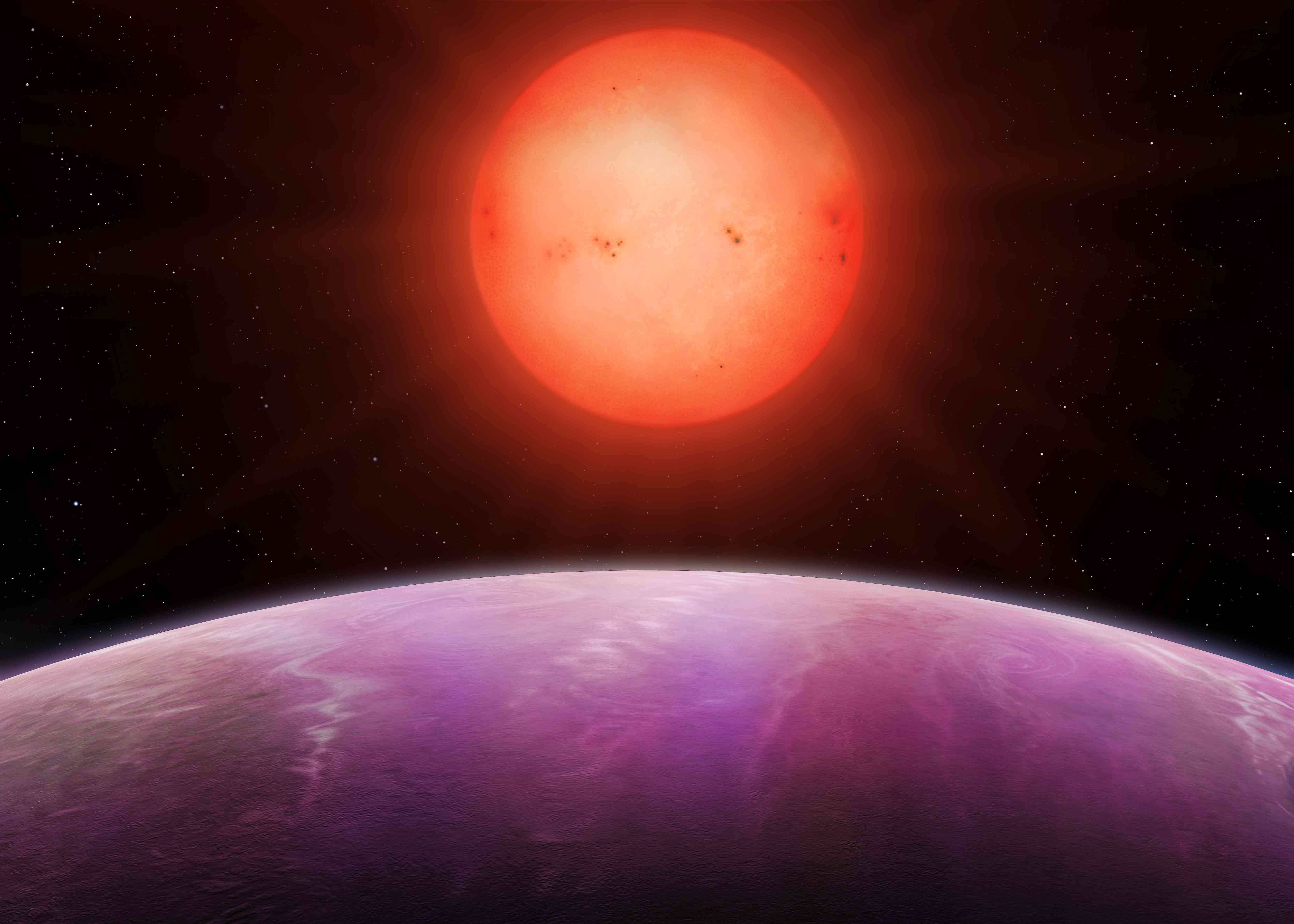 Artist rendering of a red dwarf.