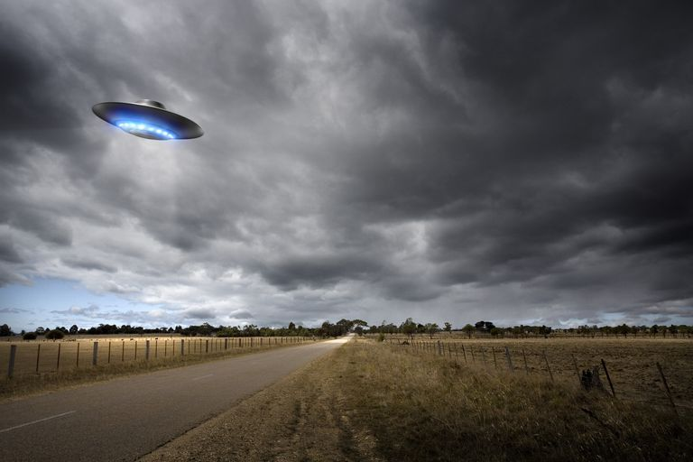 UFO above road