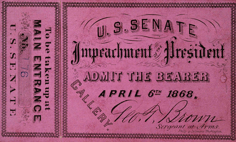 Ticket to Andrew Johnson's impeachment trial