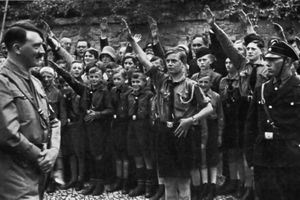 Adolf Hitler with uniformed Saxon youths in 1933