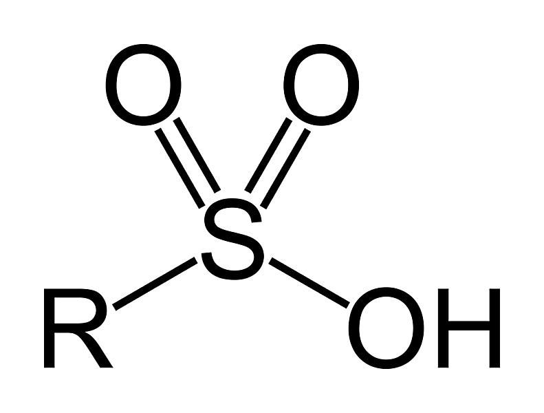 This is the two-dimensional structure of the sulfonic acid or sulfo functional group.