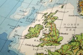 close-up of British Isles on a map