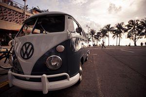 Volkswagen combi van on Waikiki boulevard.