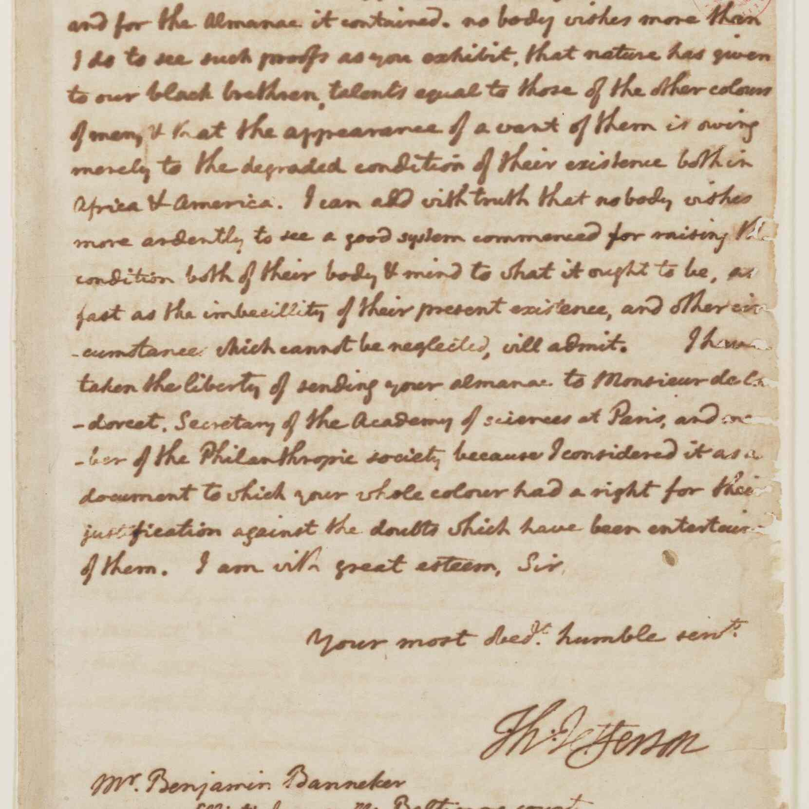 Thomas Jefferson's 1791 letter to Benjamin Banneker