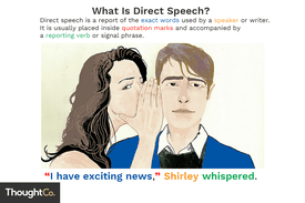 Direct speech is a report of the exact words used by a speaker or writer. It is usually placed inside quotation marks and accompanied by a reporting verb or signal phrase.
