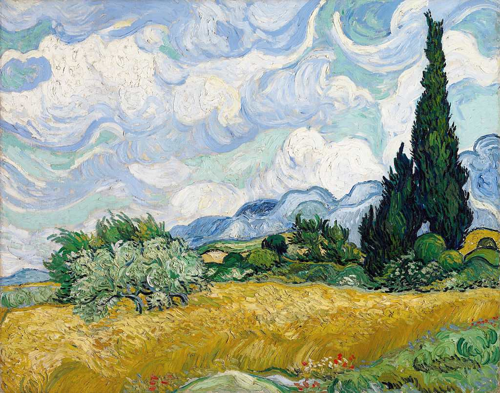 Painting of wheatfield with cypresses by Vincent van Gogh