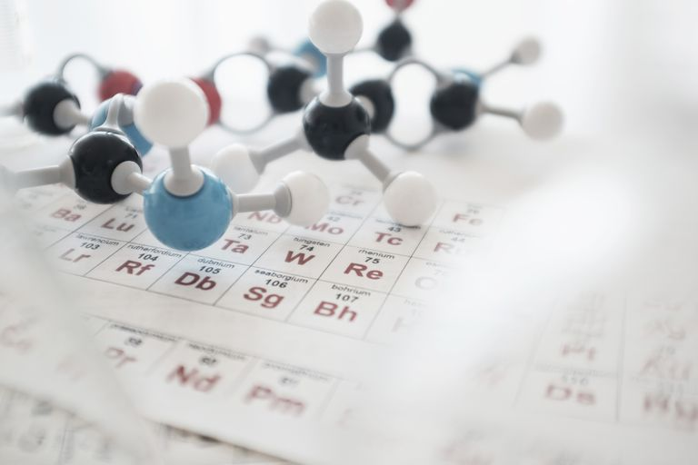 Molecular structure and periodic table on desk