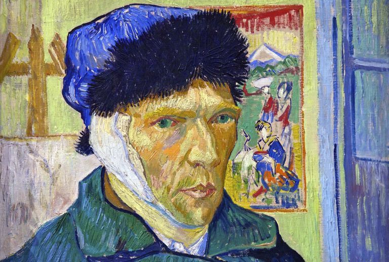 Face of van Gogh wearing a blue cap and a bandage over his ear.