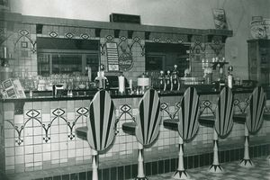 Soda fountain at counter