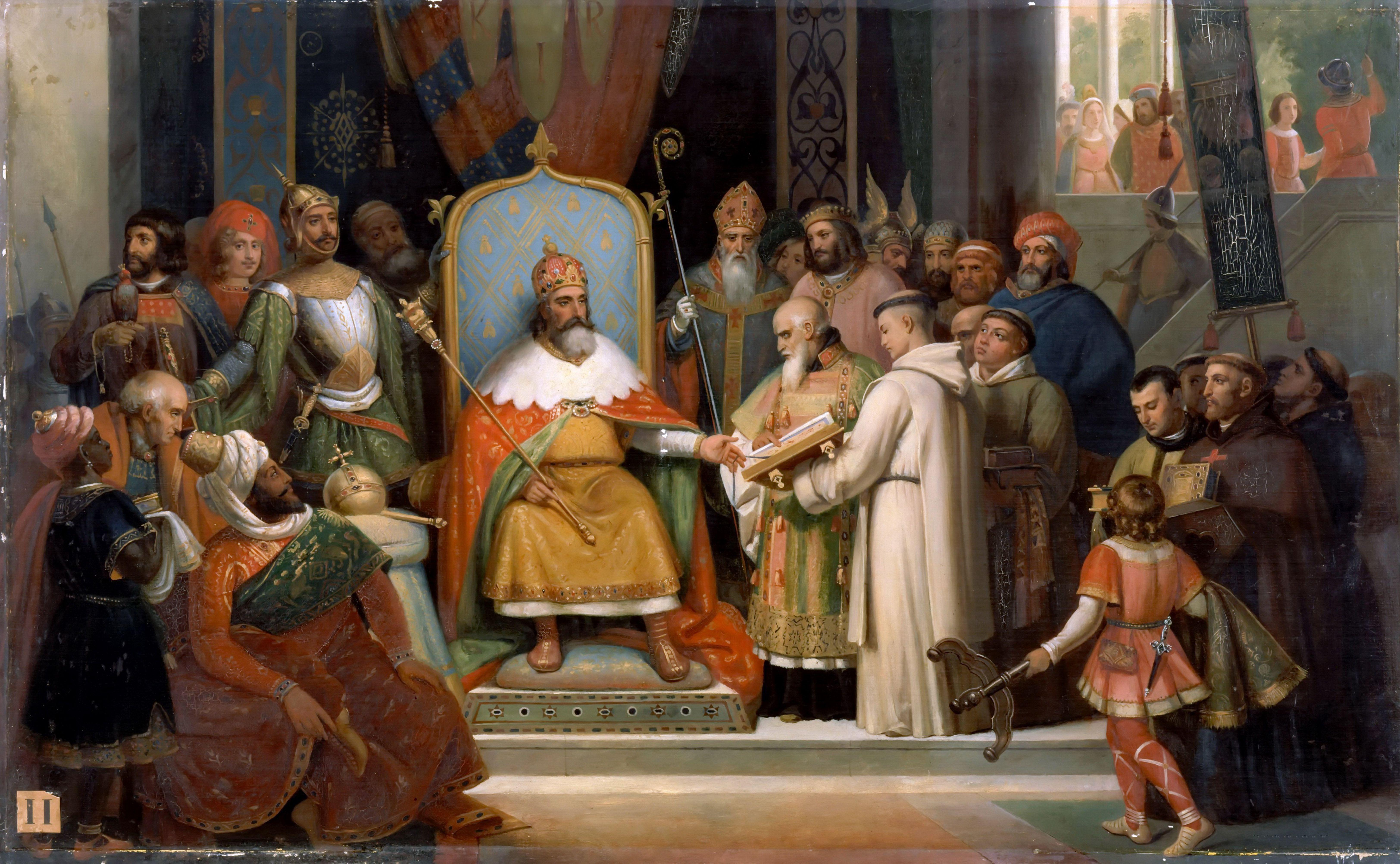 Charlemagne receives Alcuin, 780. Artist: Schnetz, Jean-Victor (1787-1870)