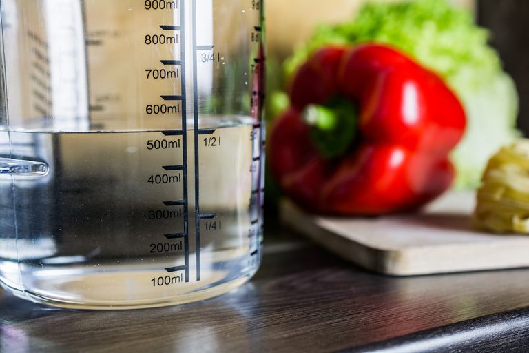 500ml Water In Measuring Cup On Kitchen Counter