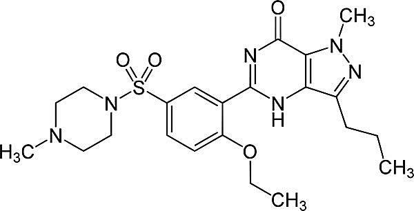 Esta es la estructura química del sildenafil.