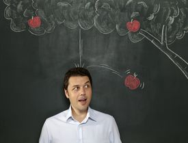 """Newton did think about gravity watching apples fall from trees, but he didn't have a """"eureka"""" moment by having on fall on his head. That's just not true!"""