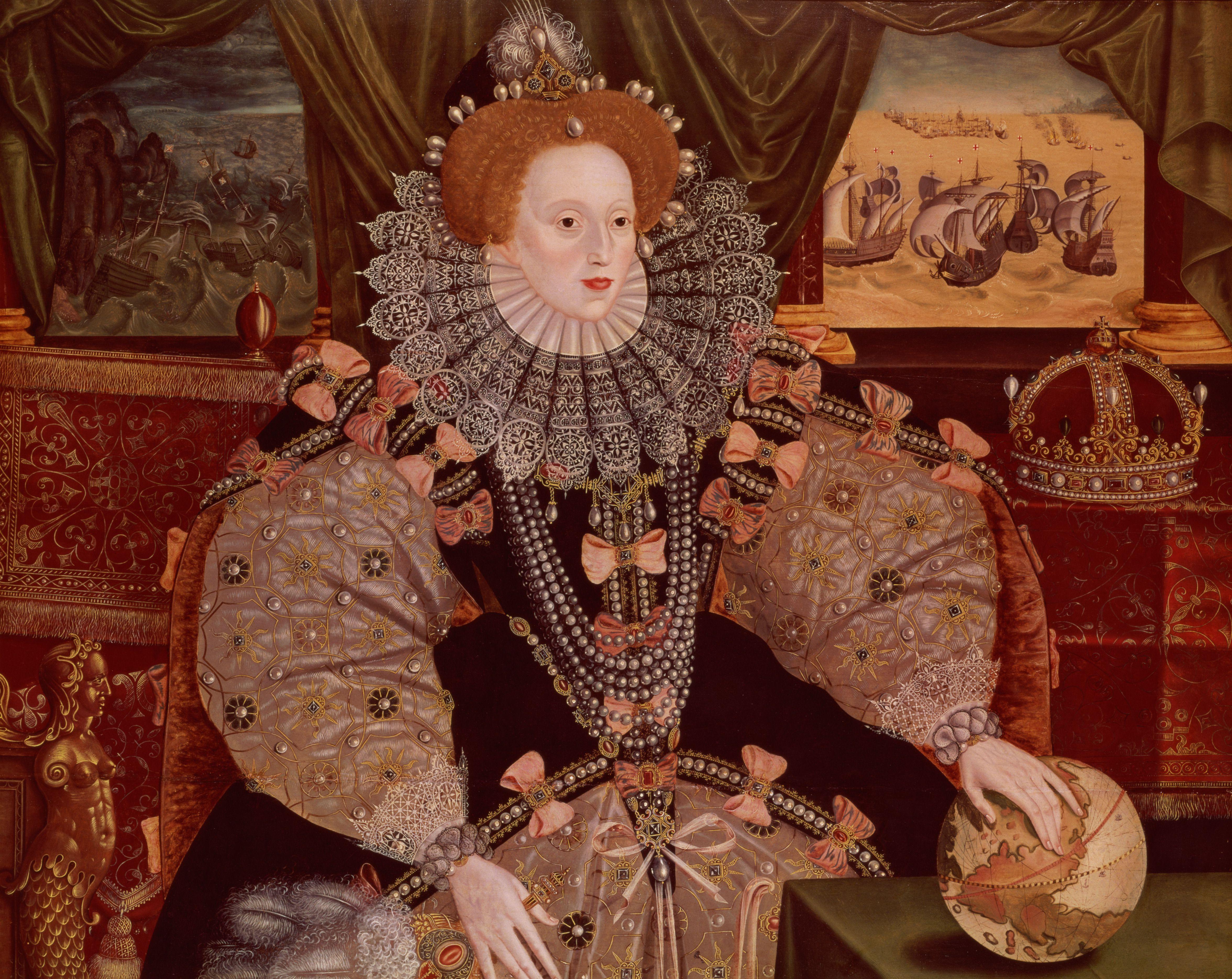 Oil painting of Elizabeth I, Armada Portrait, c.1588