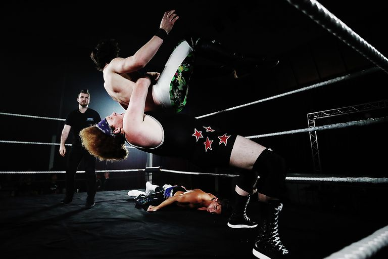 Pat Patricks fights Mason Daniels during the New Zealand Pro Wrestling Winter Warfare Fight Night.