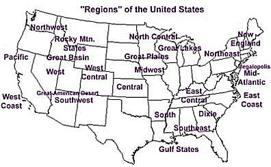 Regions Of The United States - Map-of-us-regions