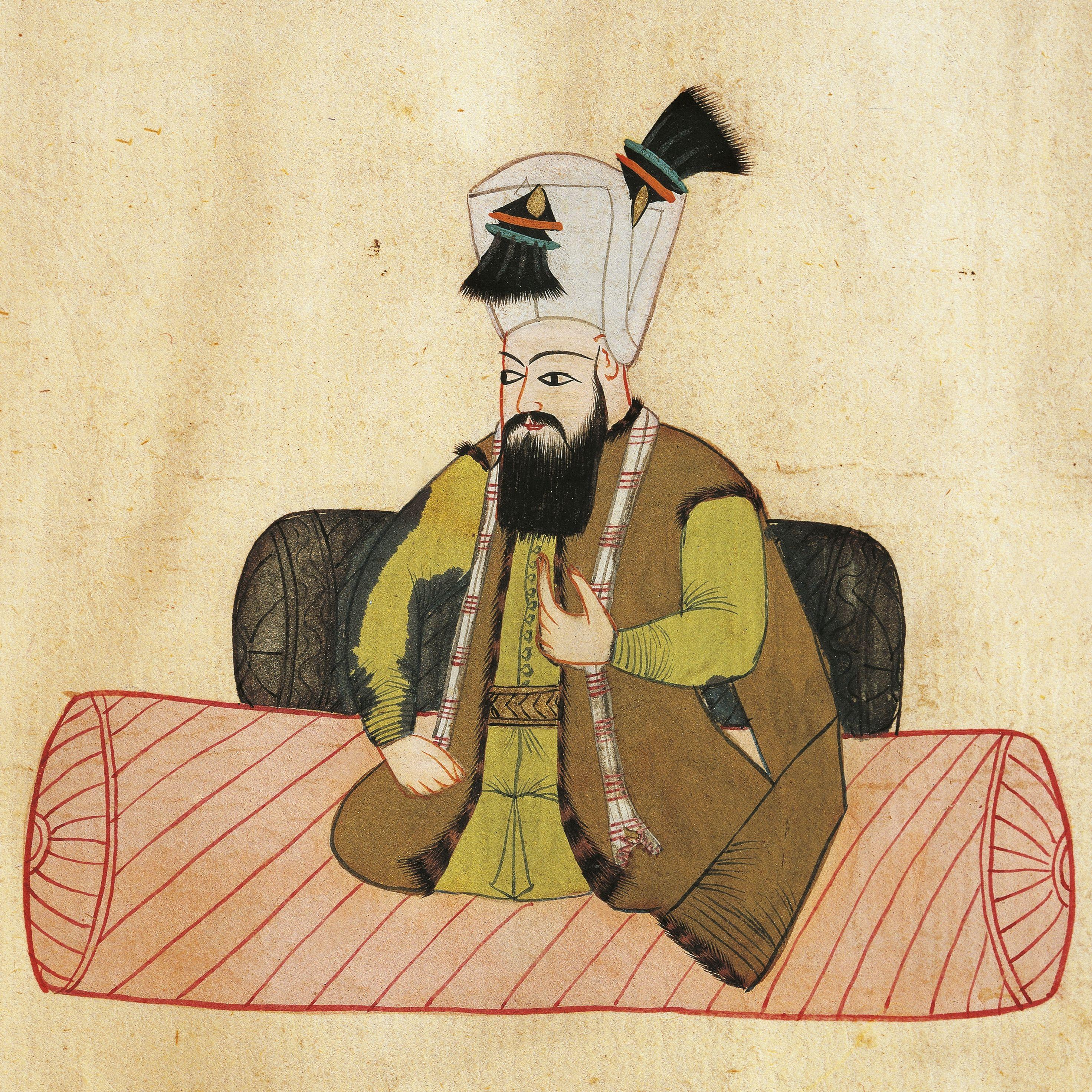 Portrait of Mustafa I (Manisa, 1592 - Istanbul, 1639), Sultan of Ottoman Empire, illustration from Turkish Memories, Arabic manuscript, Cicogna Codex, 17th century