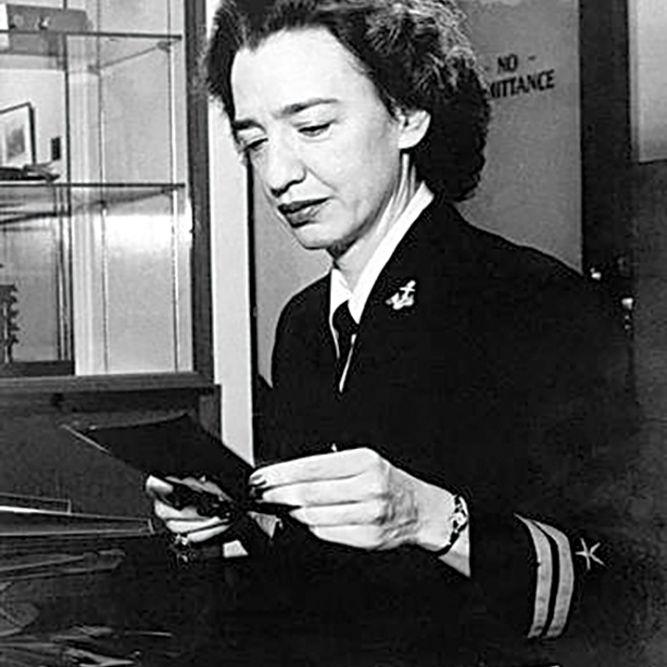 Lt. j.g. Grace Brewster Hopper working at the Bureau of Ordnance Computation Project, Harvard University, Cambridge, Mass., January 1946.