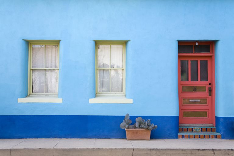 Bright blue house in Tucson's El Presidio Historic District