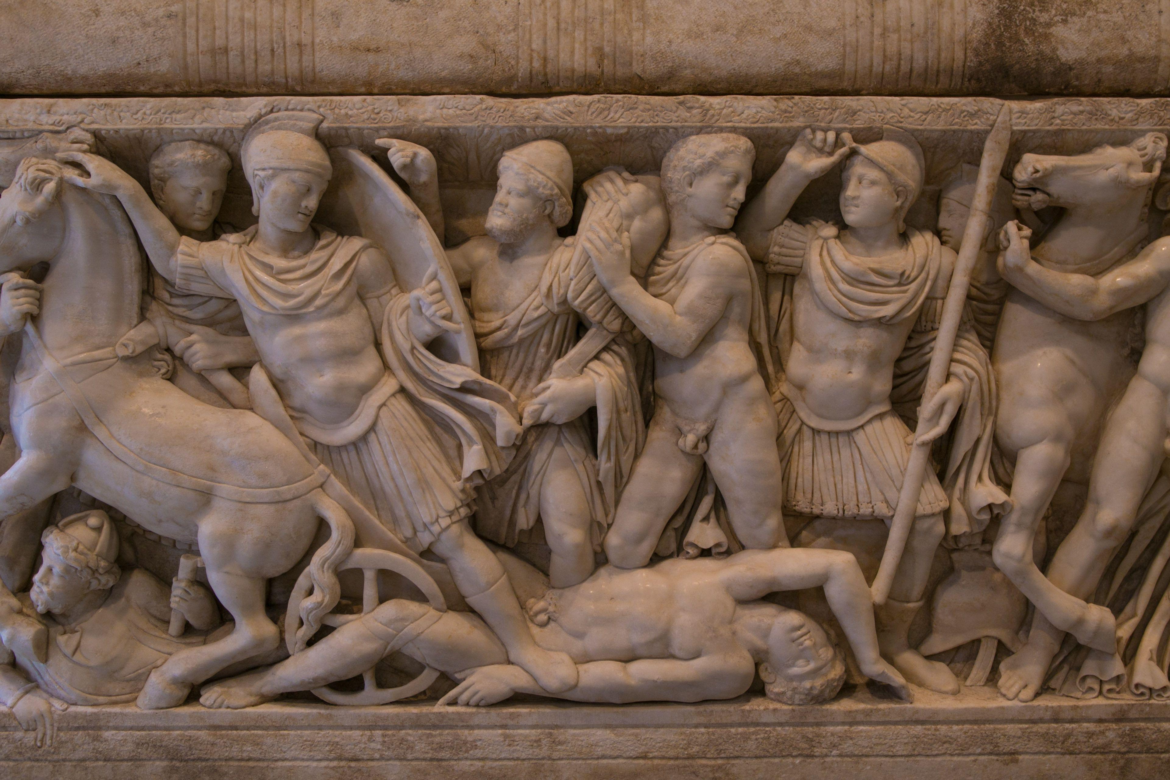 Ein römischer Marmorsarkophag mit Szenen aus dem Trojanischen Krieg