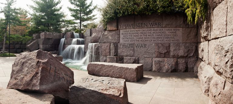Engraved memorial wall, Franklin Delano Roosevelt Memorial, Washington DC, USA