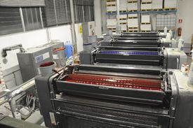 Lithography machine in printing shop