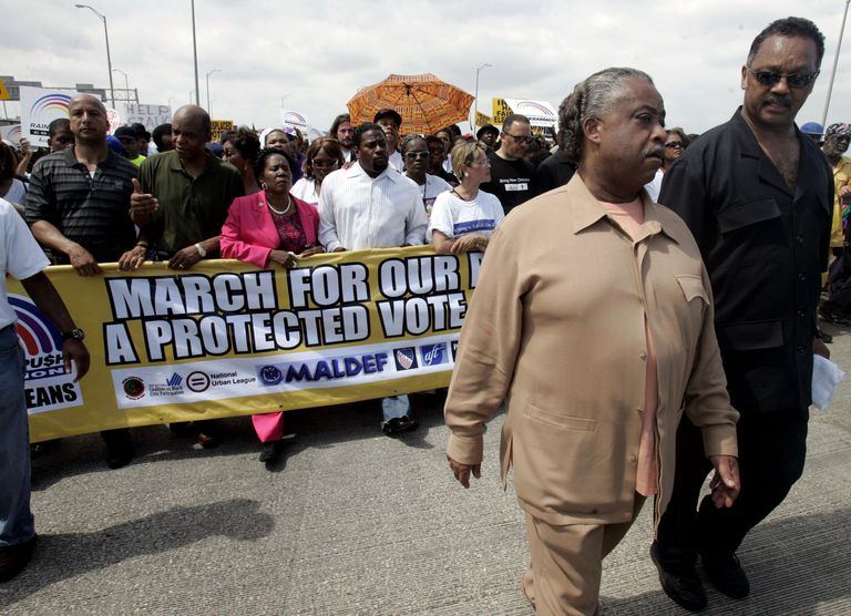 Protestors in New Orleans calling for protection of voting rights for returning Katrina victims