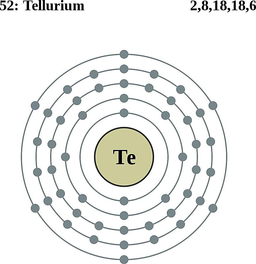 This diagram of a tellurium atom shows the electron shell.