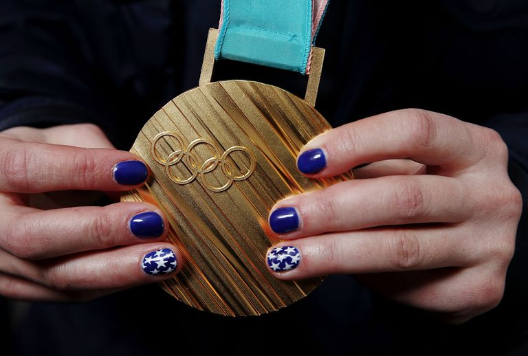 Closeup of a gold medal from the 2018 PyeongChang Winter Games