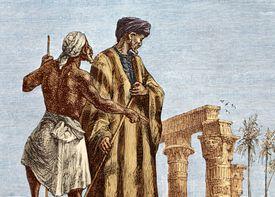 Mid-19th century print by Paul Dumouza depicting Ibn Battuta in Egypt.